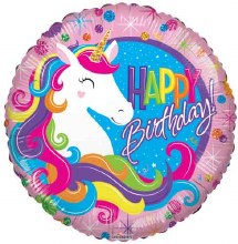 Happy Birthday Rainbow Unicorn ~ Lisa Frank Style ~ 18""
