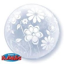 Bubble ~ Clear w/ White Floral Patterns ~ 20""