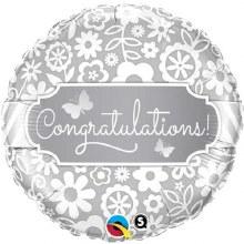 "Congratulations White Floral ~ 18"""