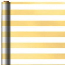 Gift Wrap Gold/White Stripe 12in x 30ft