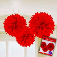 Fluffy Decor Red 3pc