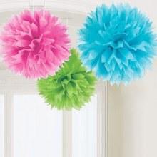 Fluffy Decor Multi Color 3pc