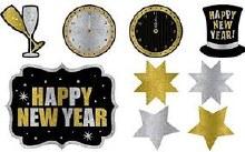 New Years Cutouts Glitter Asst