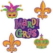 Mardi Gras Cutouts Glitter 12ct