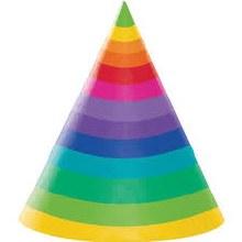 Rainbow Cone Hats 8ct