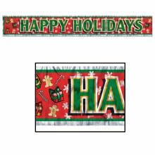 Happy Holidays Metallic Foil Fringe Banner ~ 5'