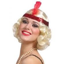 Wig Curly Flapper w/ Beadband Blonde