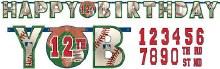 Baseball Add an Age Birthday Banner