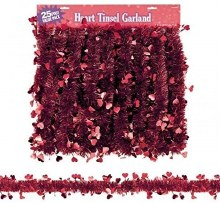 Garland Tinsel w/Red Hearts 25ft
