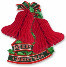 """Merry Christmas Tissue Bell Wall Decoration ~ 14"""""""