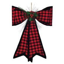 "Red Plaid Christmas Bow w/ Holly ~ 18""x18"""