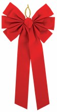 """Large Red Flocked Bow ~ 27"""""""