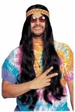 Wig Hippie w/detach HB Blk