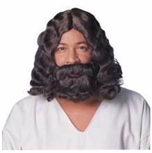 Wig Jesus w/beard Brn
