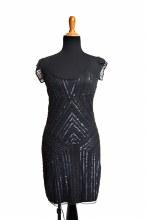 Flapper Dress Black Scoop Neck Large