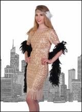 Flapper Dress Beige Large