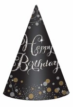 Sparkling Celebration Cone Hats - 8 Count