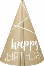 Bday Silver & Gold Cone Hats Mini 12pk
