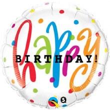 "Happy Birthday w/ Colorful Dots ~ 18"""