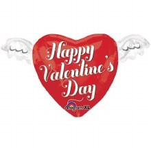 "Heart w/ Wings Happy Valentine's Day ~ 18"""