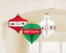 Honeycomb Christmas Ornaments ~ 3 Pack