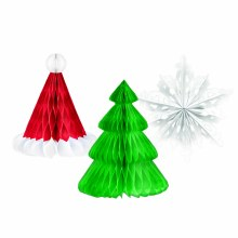 Honeycomb Tissue Holiday Hanging Decorations ~ 3 Pack