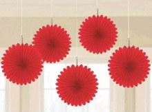 Fan Decor Mini Red 5pc