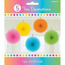 Fan Decor Multi Color 5pc
