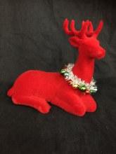 Reindeer Red Flocked Sitting