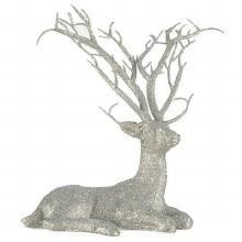 Silver Glitter Reindeer Decoration