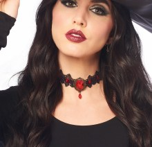 Choker Gothic Lace Red Gem