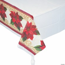 """Poinsetta Lace Plastic Tablecover ~ 102""""x54"""""""