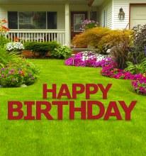 Yard Sign Happy Birthday Red