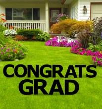 Congrats Grad Yard Sign Black