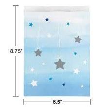 One Little Paper Blue Favor Bags 10ct