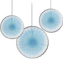 Paper Fans Blue/Silver 3pk