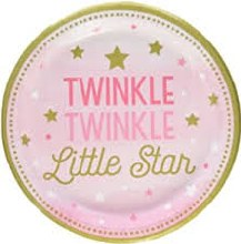 One Little Star Girl 9in Plates 8ct