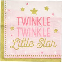One Little Star Girl Lunch Napkins 16ct