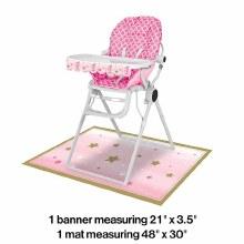 One Little Star Girl Highchair Decor Kit