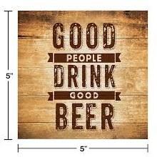 Good People Drink Beer Beverage Napkins 12ct