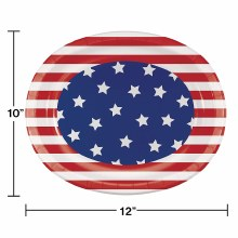 Patriotic Pattern Oval Platters 8ct