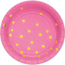 Pink/Gold Polka Dot 7in Plates 8ct