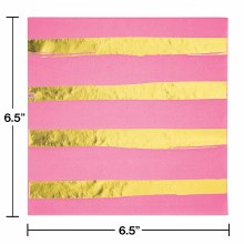 Pink/Gold Stripe Lunch Naps 16ct