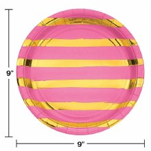 Pink/Gold Stripe 9in Plates 8ct