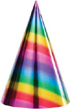 Rainbow Foil Cone Hats 8ct