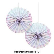 "Iridescent 12"" Paper Fans 2ct"
