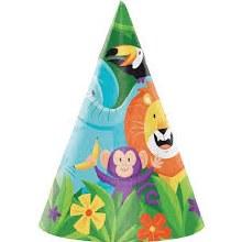 Jungle Safari Cone Hat 8pk