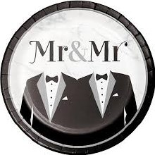 Mr & Mr Tux Dinner Plates 8ct