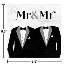 Mr & Mr Tux Dinner Napkins 16ct