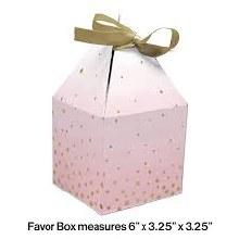 Pink/Gold Favor Box 8pk
